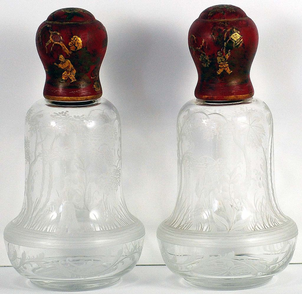 PAIR (2) FANTASTIC French, Silver Mounted Perfume Bottles/Toilet Bottles w/Oriental Figures & Painted Wood Covers