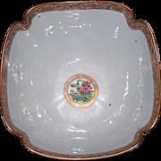 Antique Chinese Export porcelain Rose Medallion Lobed Bowl