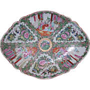 Chinese Export porcelain Rose Medallion Lozenge form footed dish