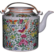 Hand painted Chinese export porcelain Rose Canton tea pot