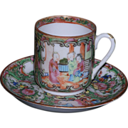Fantastic Chinese Export Rose Medallion porcelain demitasse cup and saucer