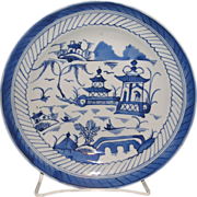 Chinese export Hand painted Canton Blue and White porcelain deep Plate