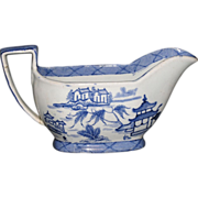 Unique Chinese export blue and white Canton gray boat