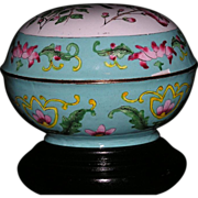Chinese Export Hand Painted enamel on copper covered Box