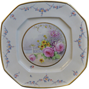 Beautiful Pickard Octagonal plate with a floral medallion, signed MK for Maxwell Rean Klipphahn