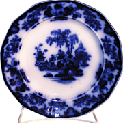 """Antique J & G Alcock Staffordshire pottery Flow Blue paneled Dinner Plate in the """"SCINDE PATTERN""""."""