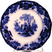 """Antique J & G Alcock Staffordshire pottery Flow Blue Round Dinner Plate in the """"SCINDE PATTERN"""""""