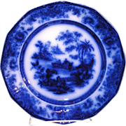 """Antique Staffordshire pottery Flow Blue Round Dinner Plate in the """"TONQUIN PATTERN"""""""