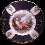 "R.S. Prussia Figural Decorated cake plate ""DIANA THE HUNTRESS"""