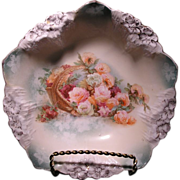 R.S. Prussia three footed floral decorated Icicle mold dish