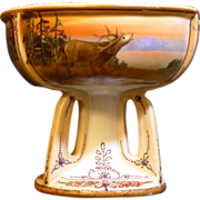 Fantastic Nippon Hand painted porcelain compote with a scenic landscape and Elk