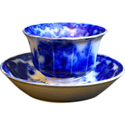 "Antique Staffordshire Flow Blue pottery footed Hand less Cup and Saucer in the ""SCINDE PATTERN"" - Red Tag Sale Item"