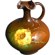 Very nice Weller Louwelsa ewer with a yellow hand painted Rose
