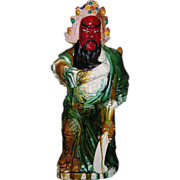 "Outstanding Chinese export porcelain hand Decorated Statue of ""KWAN KUNG"" (KUAN KUNG)(Sancai Glaze)"