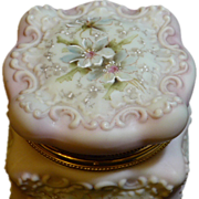 Beautiful large hand painted and skillfully detail pink wavecrest dresser box with silk liner