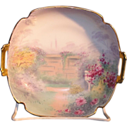 Pickard porcelain Hand painted and signed two handled dish