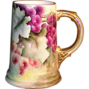 Fantastic American Belleek CAC porcelain tankard with beautiful hand painted red purple and green grapes on the vine