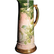 American Belleek CAC Porcelain tankard with beautiful hand painted floral design of Hops with a hidden Dragon