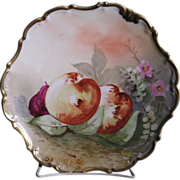 Limoges Hand Painted scalloped edge Porcelain plate decorated in a fruit and flora design