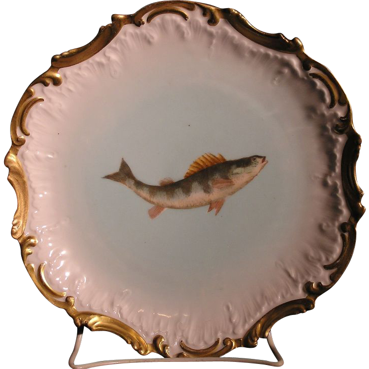 T&V Tressemann & Vogt Limoges France Porcelain game fish plate