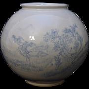 Beautiful Korean Blue & White Bulbous pottery Vase signed