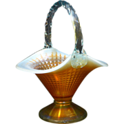 Original Fenton Aqua Opalescent Marigold 100th anniversary Basket.