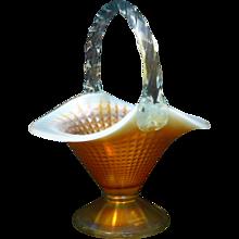 Original Fenton Aqua Opalescent Marigold 100th anniversary Basket. - Red Tag Sale Item
