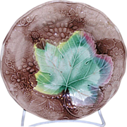 Large majolica maple leaf and strawberry plant decorated plate