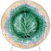Antique Griffin, Smith & Hill Etruscan majolica Maple leaf plate with yellow basket weave rim