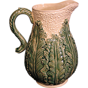 beautiful large America Majolica Cauliflower pitcher