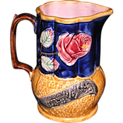 English majolica wild rose pitcher with cobalt ground