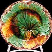 Fantastic antique Wedgwood majolica mottled Maple Leaf plate
