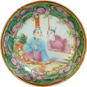 Rare Chinese export rose medallion butter pat