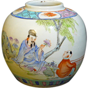 Hand painted Chinese export round jar with Teacher and student decorated design in the Family Rose color pallet