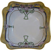 "Beautiful Pickard Deep square bowl with fluted corners, ""Pink Weigelas"" signed EDWD for Edward"