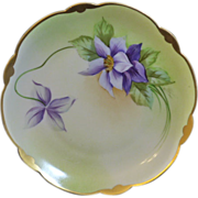 Pickard scalloped edge plate with Purple Clematis signed Wight for Phillip Wight