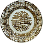 "English Staffordshire Brown earthenware Transferware Plate ""American Marine"" by GL Ashworth & Brothers"