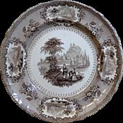 "English Staffordshire brown Transferware Plate by George Phillips ""Verona"""
