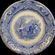 "English Staffordshire Historic Medium Blue Transferware Plate""PERUVIAN HORSE HUNT"""