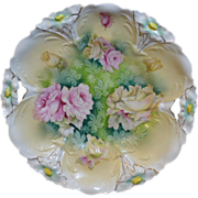 RS Prussia cake plate with pink roses
