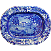 "English Staffordshire Historic Blue Transferware Platter by Ralph Hall's ""Palace of St. Cloud, France"""