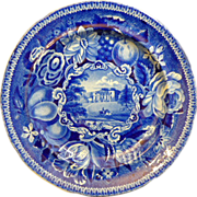 """English Staffordshire Historic Blue Transferware Plate by Ralph Hall's """"Pain's Hill, Surrey"""""""