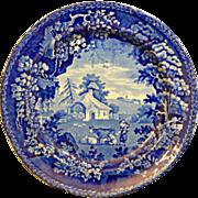 English Staffordshire Historic Dark blue Transferware plate Ca. by William Adams & Son