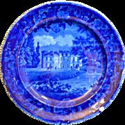 English Staffordshire Historic Dark blue Transferware semi china plate by E. Woods & Son, Burslem