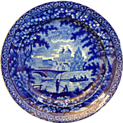 English Staffordshire Historic Dark blue Transferware plate by James & Ralph Clews, Cobridge
