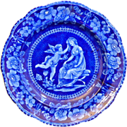 "English Staffordshire Historic Dark blue Transferware plate ""CUPID SERIES"""