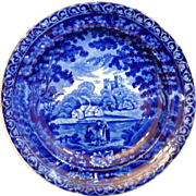 "English Staffordshire Historic Dark Blue Transferware plate ""Castle Views"" by James & Ralph Clews"