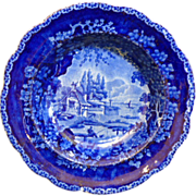 "English Staffordshire Historic blue large scalloped edge bowl by Adams, ""Pier Fishing"","