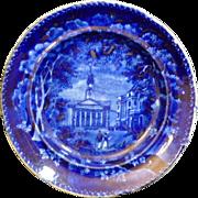"English Staffordshire Historic Dark Blue Transferware plate ""York Gate, Regent's Park Marylebone Church, 1828"