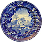 """English Staffordshire Historic blue plate by Adams """"Scenic Views"""""""